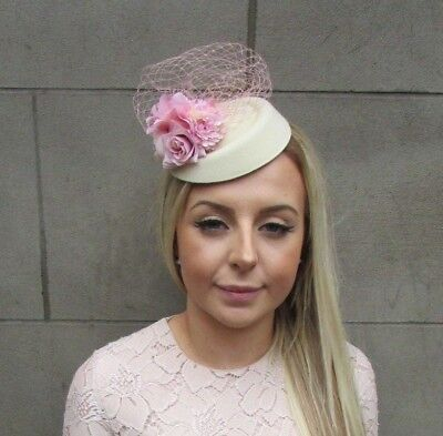 Blush Pink Cream Rose Flower Net Pillbox Hat Hair Fascinator Races Wedding 5285