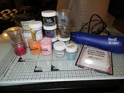 Heat It Up Heat Tool, 15 Embossing Powders & Ranger Perfect Medium Clear Ink Pad