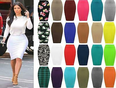 Womens Plain Jersey Bodycon Tube Pencil High Waisted Ladies Stretch Midi Skirt