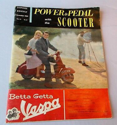 Vintage Magazine Power & Pedal with the Scooter November 1959 Vespa Moped Ads