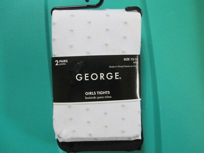 SALE! GEORGE Size 12/14 Two Pairs (Black and White Dot) Tights, NWT