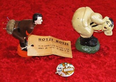 WWll Hitler Home Front Pin Cushion, Tooth Pick Holder and Hanging Tree Pin Lot