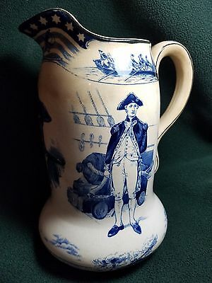 "1907 JOHN PAUL JONES 9 1/4"" PITCHER Buffalo Pottery - Blue and White"
