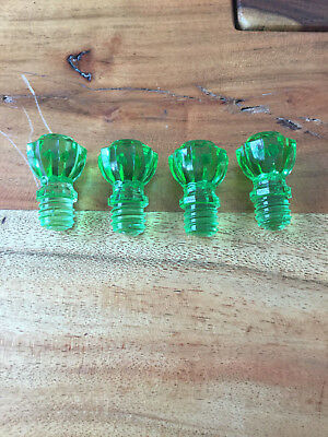 Antique Green Glass Drawer Pulls Door Cabinet Knobs Threaded