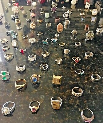 "LARGE Estate vintage to modern Lot of 100 Jewelry  Junk drawer. "" All Rings"""
