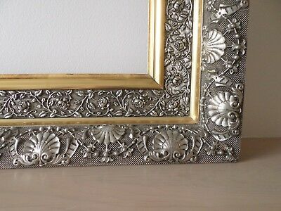 Antique 19th century Large 22 x 28 Silver & Gold Gesso Vintage Picture Frame