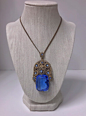 Austria Or Germany Faceted Blue Crystal Filigree Necklace