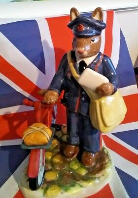 Db377 Postman Bicycle Bunnykins Royal Doulton Professions Collection 2005 Rare