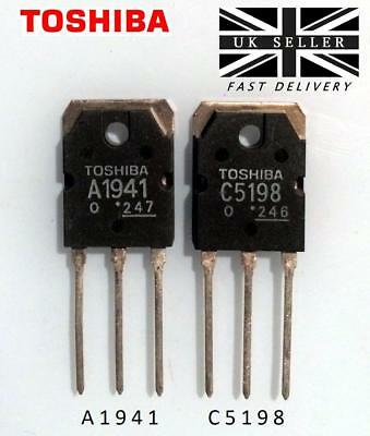 A1941 + C5198 (Pair/2pcs) Audio Amplifier Transistors by TOSHIBA Semiconductor