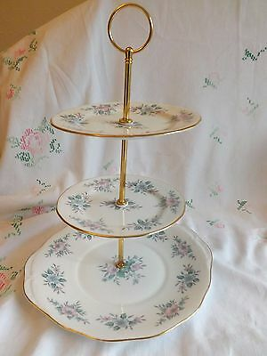 """Beautiful Vintage Colclough """"copellia"""" Blue And Pink Floral 3 Tier Cake Stand"""
