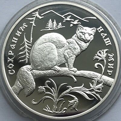 """Russian SILVER coin 3 Rubles """"Protect Our World - Sable"""" 1994"""