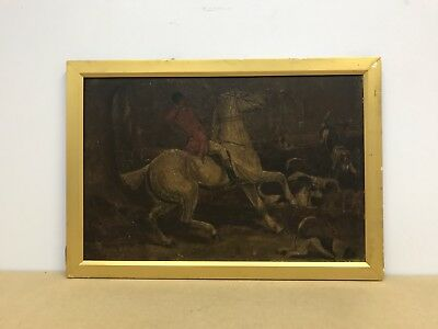 Antique victorian 19th century Oil painting on board huntsman with dogs