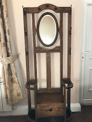 Antique Oak Hall Stand With Oval Mirror And Umbrella Stand
