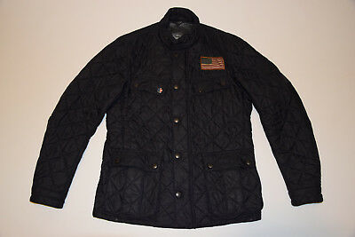 Barbour Steve McQueen Collection Black Quilted Jacket  U.S. Flag size M