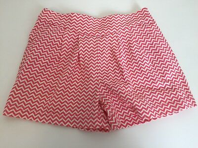 TEA COLLECTION Boat Dock Shorts Coral Girls Size 5 The Italian Coast Zig Zag