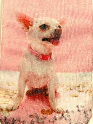 Socks Chihuahua Dog Pink White Ladies Casual Low Cut Socks Brand New NWOT