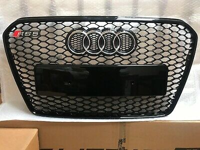 Audi A5 S5 To RS5 Style Black Gloss Honeycomb Mesh Front Grille 2012 - 15