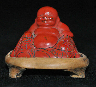 Antique? Signed Chinese Carved Red Cinnabar Lacquer Buddha With Stand