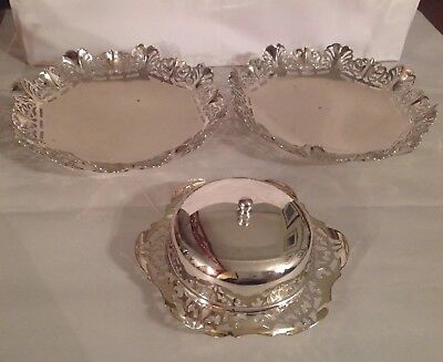 Delicate EPNS Silver Plate butter dish with two EPNS Silver Plate shallow dishes