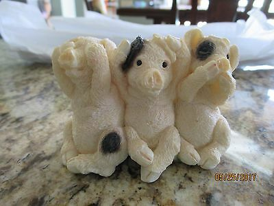 Stone Critters  Pigs Figurine