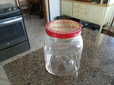 Vintage Nash's Coffee Embossed diamond design 3 pound Jar Hazel Atlas Glass 428