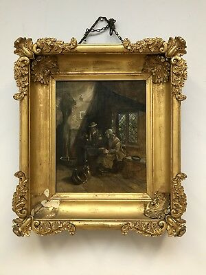 Antique oil painting on canvas/board 19th century cottage interior scene