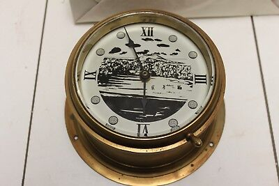 Vintage Brass Ship Bulkhead  Clock – Vintage Heavy Brass Bulkhead Clock