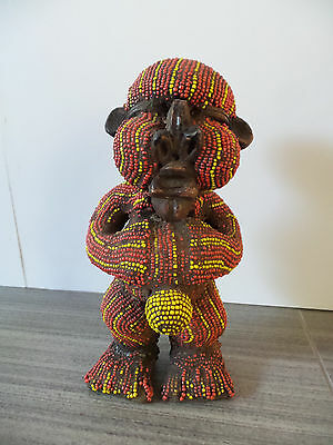 "7"" Tall Cameroon Tikar Beaded Statue African Bamun Wooden Clay Bead Pygmy Africa"