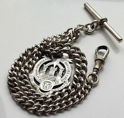Antique 1920 Solid Silver Graduated Albert Pocket Watch T-Bar Chain -By HP
