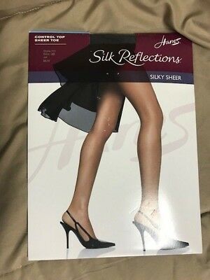 87a45b2448fcc NWT Hanes Silk Reflections silky sheer pantyhose Size AB Jet Style 717  control