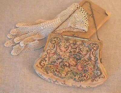 French Micro Petit Point / Needlepoint Tapestry Evening Bag / Purse Silk 1800's