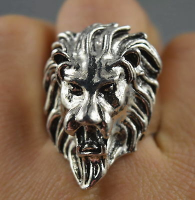 China Collectable Handwork Decor Old Miao Silver Carve Roar Lion Exorcism Ring