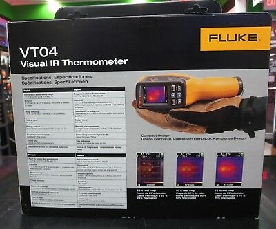 Fluke FLK-VT04 Visual Infrared Thermometer with Li-Ion Rechargeable Battery, New
