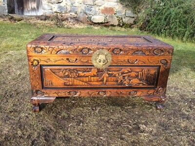 Carved Camphor Wood Trunk / Chest / Box