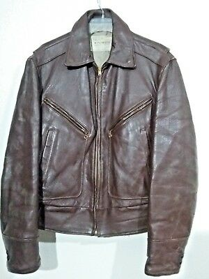 Windward Horsehide Leather Motorcycle Jacket Brown Distressed 50s 60s Bomber