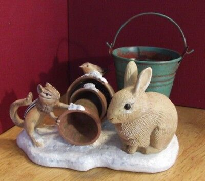 Marjolein Bastin Collectible Rabbit Chipmunk Metal Bucket Trinket Ring Holder
