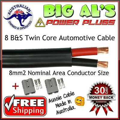 10 Metre 8 B&S Twin Core Automotive Auto Cable + 2 GRY Anderson Style DC Plugs