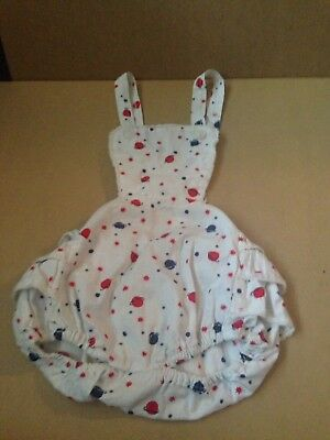 Vintage Baby Girl Ruffle Bottom Bubble Romper 1950's Planets And Stars