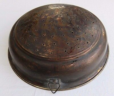 Antique Vintage Primitive Copper Tin Lined Colander Strainer Pot w/ Hanger Hook