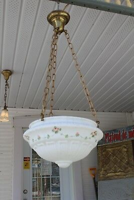 Antique Victorian Hanging  Ceiling Light Fixture Lamp With Handpainted Shade