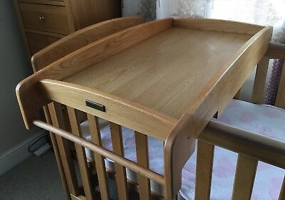 Mamas & Papas Oak Cot Top Changer with Towel Rail
