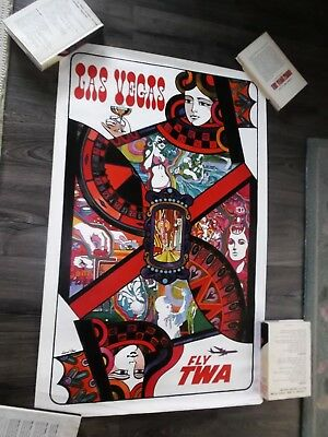 "TWA Original LAS VEGAS Travel Poster 25"" x 40""  David Klein 4-1099 U.S.A."