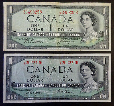 Set of Two $1  Bank of Canada 1954 Devil  Face Banknotes