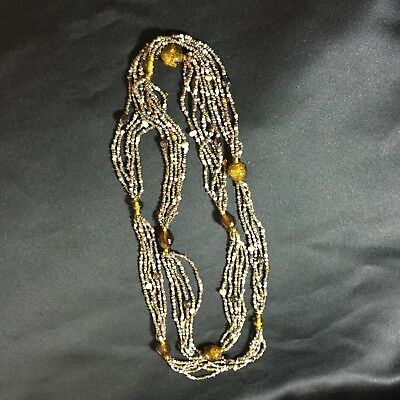 Deco Vintage 3 Strand Seed Bead Gold/Amber Foil Glass Bead Necklace