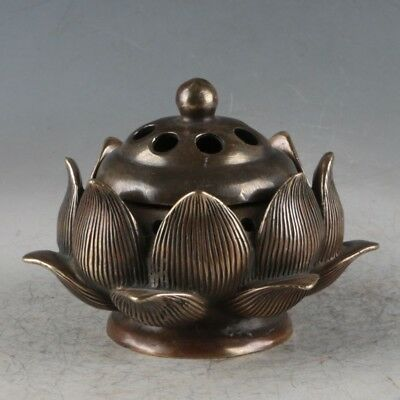 Chinese Brass Lotus Incense Burner Made During The Qianlong Period TQ033