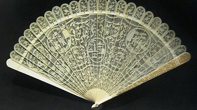 Fine Chinese Export Filigree Hand Carved Grand Brise Fan Old Canton Qing 19C