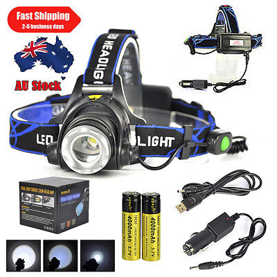 Zoomable 15000LM XML T6 LED Headlamp Rechargeable Headlight Torch 18650 Charger