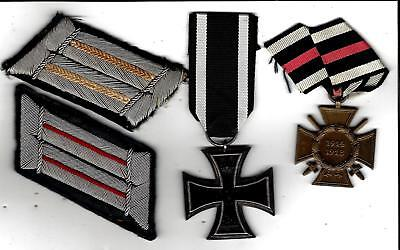 Rare,real WW1 Iron Cross and other WW1 medal, 2 WW2 collar tab patches bullion