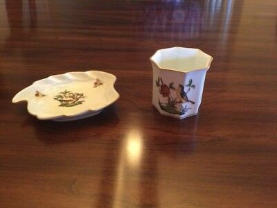 Herend Rothschild Bird China Leaf Dish & Small Vase