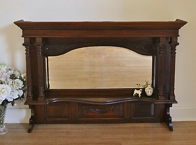 Antique Edwardian Carved Walnut Mirror /Over Mantle /Sideboard Back /Wall Mirror